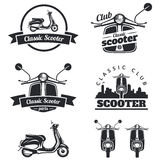 Insieme degli emblemi, delle icone e dei distintivi classici del motorino Urbano, via Fotografie Stock Libere da Diritti