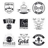 Insieme degli emblemi di forma fisica Fotografia Stock