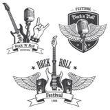 Insieme degli emblemi di musica di rock-and-roll Immagini Stock Libere da Diritti