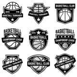 Insieme degli emblemi di sport di pallacanestro Progetti l'elemento per il manifesto, il logo, l'etichetta, l'emblema, il segno,  Fotografia Stock Libera da Diritti