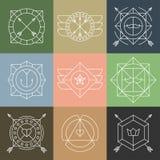 Insieme degli emblemi e dei distintivi dei pantaloni a vita bassa illustrazione vettoriale