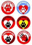 Insieme degli emblemi e dell'autoadesivo di aiuto del cane Motivo di impronta di cane, cuore, mano umana Raccolta distintiva nei  Fotografia Stock Libera da Diritti