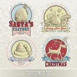 Insieme degli emblemi e delle progettazioni di Natale Fotografie Stock Libere da Diritti