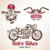 Insieme degli emblemi e di etichette delle motociclette Immagini Stock Libere da Diritti