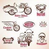 Insieme degli emblemi e di etichette delle motociclette Immagini Stock