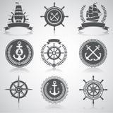 Insieme degli emblemi nautici, illustrazione di stock