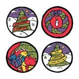 Insieme degli emblemi rotondi del nuovo anno e di Natale Fotografia Stock
