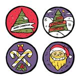 Insieme degli emblemi rotondi del nuovo anno e di Natale Immagini Stock Libere da Diritti