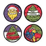 Insieme degli emblemi rotondi del nuovo anno e di Natale Fotografia Stock Libera da Diritti
