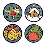 Insieme degli emblemi rotondi del nuovo anno e di Natale Fotografie Stock