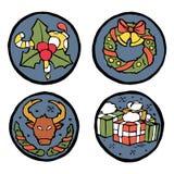 Insieme degli emblemi rotondi del nuovo anno e di Natale Immagine Stock Libera da Diritti