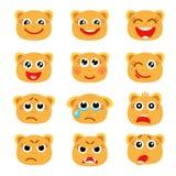 Insieme degli emoticon come la testa arancio dell'animale Fotografia Stock Libera da Diritti