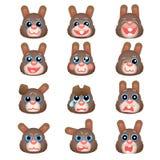 Insieme degli emoticon come la testa marrone del coniglietto Immagine Stock Libera da Diritti
