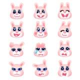 Insieme degli emoticon come la testa rosa del coniglietto Fotografie Stock
