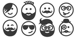 Insieme degli emoticon dei pantaloni a vita bassa del profilo, emoji Fotografia Stock
