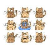 Insieme degli emoticon del gatto Fotografia Stock Libera da Diritti