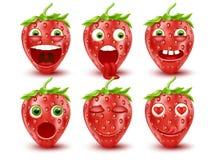 Insieme degli emoticon della fragola 3d Emoticon di smiley Immagine di vettore Fotografia Stock