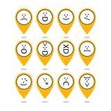 Insieme degli emoticon, emoji di punteggiatura Caratteri isolati Vettore Fotografia Stock Libera da Diritti