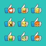 Insieme degli emoticon, pollice sui simboli Immagine Stock