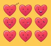 Insieme degli emoticon rossi del cuore Emoji di vettore su fondo giallo Immagine Stock Libera da Diritti