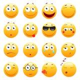 Insieme degli emoticon svegli 3d Icone di sorriso e di Emoji Isolato su priorità bassa bianca Illustrazione di vettore Fotografia Stock