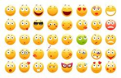 Insieme degli emoticon svegli 3d Icone di sorriso e di Emoji Su fondo bianco Illustrazione di vettore illustrazione di stock