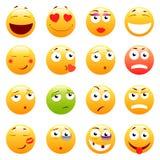 Insieme degli emoticon svegli 3d Icone di sorriso e di Emoji Su fondo bianco Illustrazione di vettore Fotografie Stock Libere da Diritti