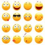 Insieme degli emoticon svegli 3d Icone di sorriso e di Emoji Su fondo bianco Illustrazione di vettore Fotografia Stock