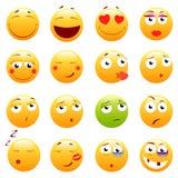 Insieme degli emoticon svegli 3d Icone di sorriso e di Emoji Su fondo bianco Illustrazione di vettore Fotografie Stock