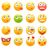 Insieme degli emoticon svegli 3d Icone di sorriso e di Emoji Su fondo bianco Illustrazione di vettore Immagini Stock Libere da Diritti