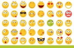 Insieme degli emoticon svegli Icone di sorriso e di Emoji Su fondo bianco Illustrazione di vettore Fotografia Stock