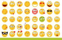 Insieme degli emoticon svegli Icone di sorriso e di Emoji Su fondo bianco Illustrazione di vettore Fotografie Stock