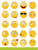 Insieme degli emoticon svegli Icone di sorriso e di Emoji Su fondo bianco Illustrazione di vettore Immagini Stock Libere da Diritti