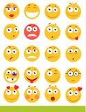 Insieme degli emoticon svegli Icone di sorriso e di Emoji Su fondo bianco Illustrazione di vettore illustrazione vettoriale