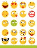 Insieme degli emoticon svegli Icone di sorriso e di Emoji Su fondo bianco Illustrazione di vettore Fotografie Stock Libere da Diritti