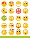 Insieme degli emoticon svegli Icone di sorriso e di Emoji Su fondo bianco Illustrazione di vettore Fotografia Stock Libera da Diritti