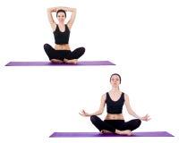 Insieme degli esercizi di yoga su bianco Fotografia Stock Libera da Diritti