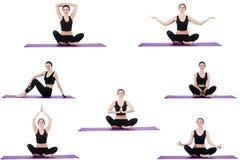 Insieme degli esercizi di yoga su bianco Fotografie Stock