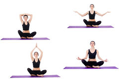 Insieme degli esercizi di yoga su bianco Immagini Stock Libere da Diritti