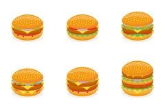 Insieme degli hamburger differenti isolati su fondo bianco Illustrazione di vettore illustrazione di stock