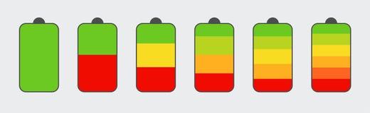 Insieme degli indicatori di livello della carica della batteria Carica della batteria verticale dell'indicatore di livello Concet immagini stock