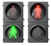 Insieme degli indicatori luminosi chiari pedonali Fotografia Stock Libera da Diritti