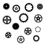 Insieme degli ingranaggi neri su un fondo bianco, illustrazione di vettore royalty illustrazione gratis