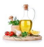 Insieme degli ingredienti e della spezia per la cottura dell'alimento fotografia stock