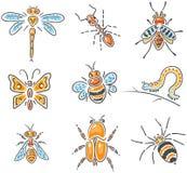 Insieme degli insetti imprecisi disegnati a mano differenti Fotografia Stock Libera da Diritti