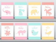 Insieme degli inviti della doccia di bambino sulle carte di carta, manifesto, saluto, modello, animali, elefanti, coniglio, unico illustrazione vettoriale