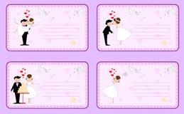 Insieme degli inviti di nozze fotografie stock