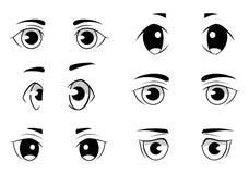 Insieme degli occhi di stile di anime isolati su fondo bianco Fotografia Stock