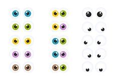 Insieme degli occhi Googly del fumetto Immagine Stock