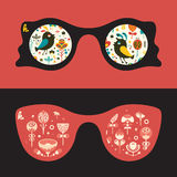 Insieme degli occhiali da sole dei pantaloni a vita bassa con gli uccelli variopinti ed i fiori Fotografia Stock